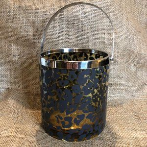 Leopard Print Glass Ice Bucket with Handle